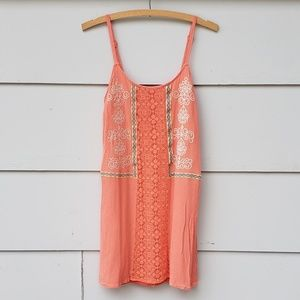 Flying Tomato Orange Embroidered Mini Dress - S